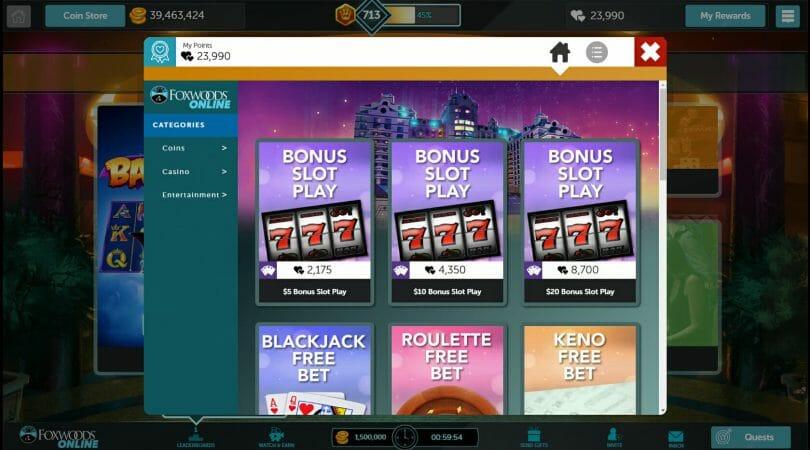 Foxwoods Online rewards options