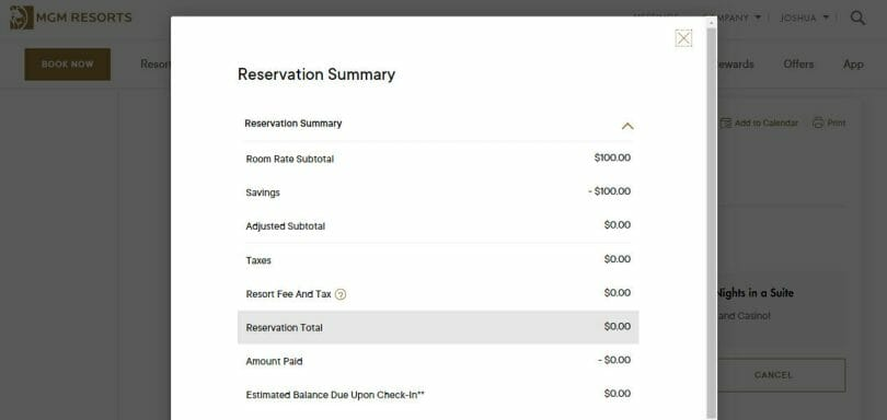 mLife reservation no resort fees