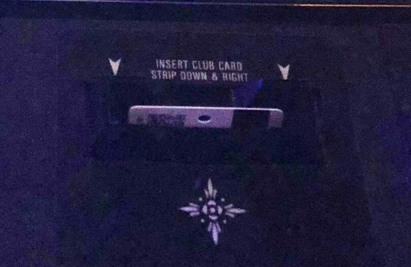 Players card inserted into a machine