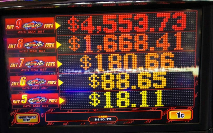 Quick Hit by Bally Jackpots at max bet