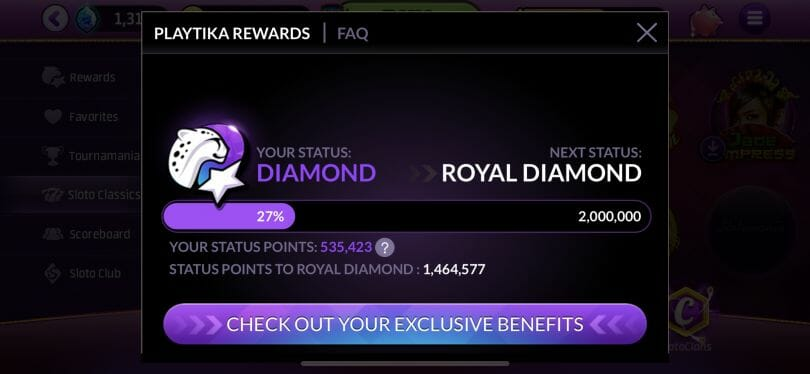 Slotomania Playtika Rewards screen