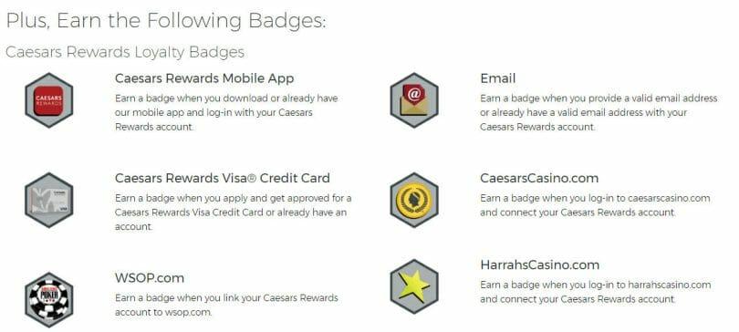 Caesars Quest for Rewards Loyalty Badges