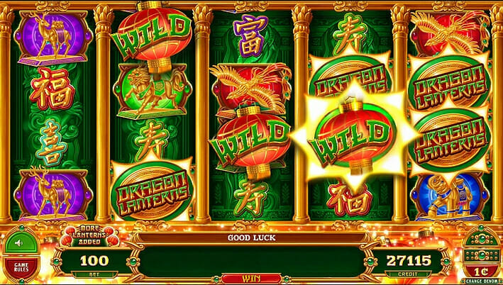 Dragon Lanterns Gimmie Games Aristocrat wild line-up