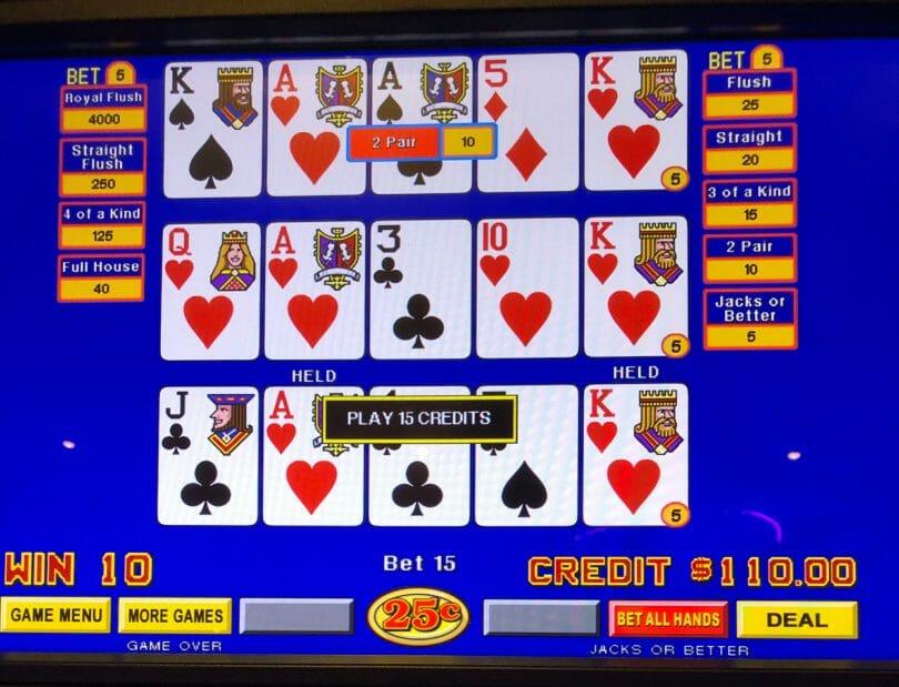 Hard Rock Casino Atlantic City Jacks or Better quarter denomination missed royal flush