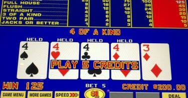 Ocean Casino 4 of a Kind on Jacks or Better Video Poker