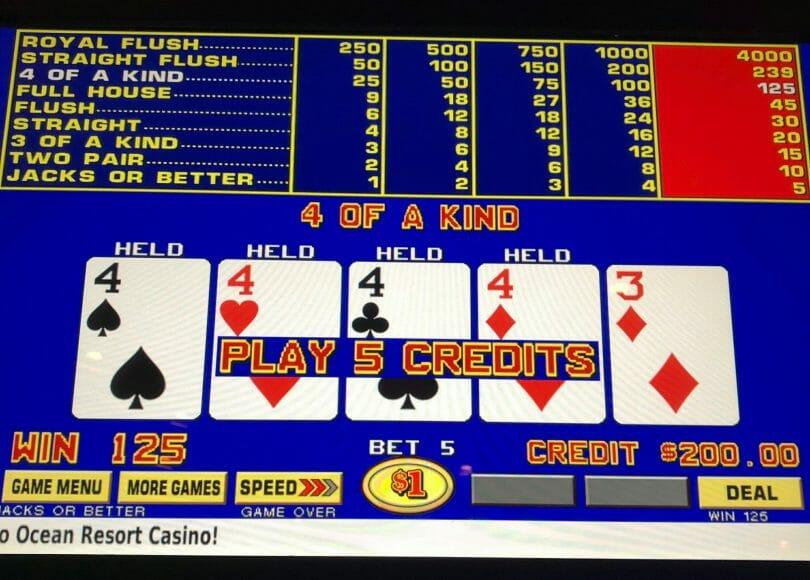 Ocean Casino 4 of a Kind on Jacks or Better Video Poker