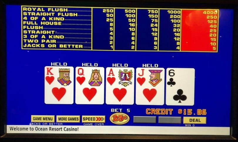 Ocean Casino Atlantic City missed royal Jacks or Better quarter denomination