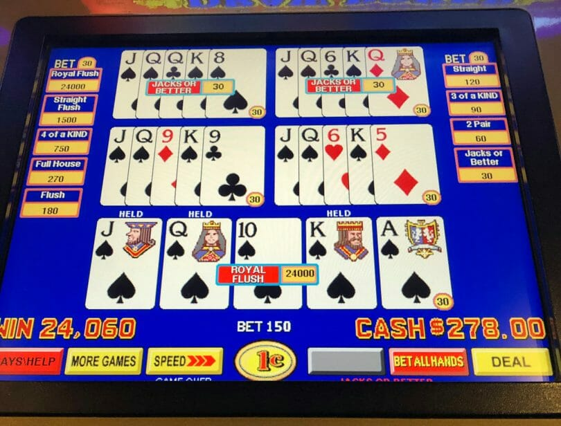 Video Poker Full Pay Jacks or Better Royal Flush
