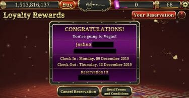 Wynn Slots comp room reservation confirmation