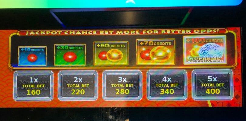 Konami Jackpot Chance bet panel