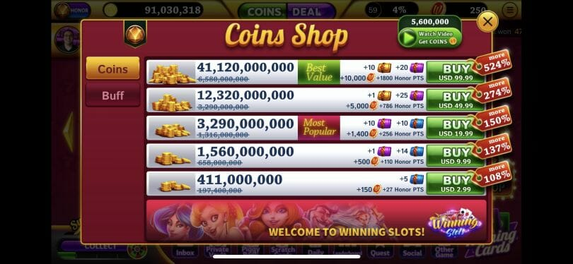 Winning Slots coin shop