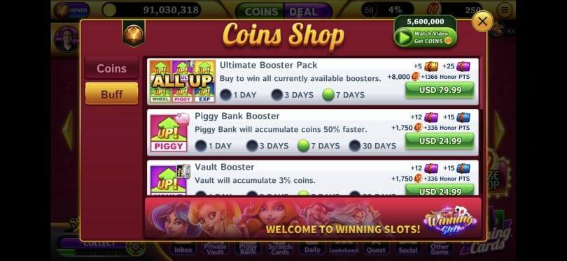 Winning Slots boosters