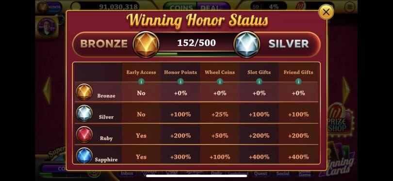 Winning Slots honor status