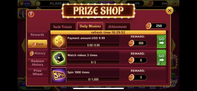 Winning Slots earn coins