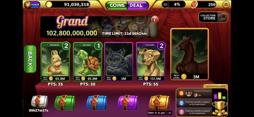 Winning Slots cards feature