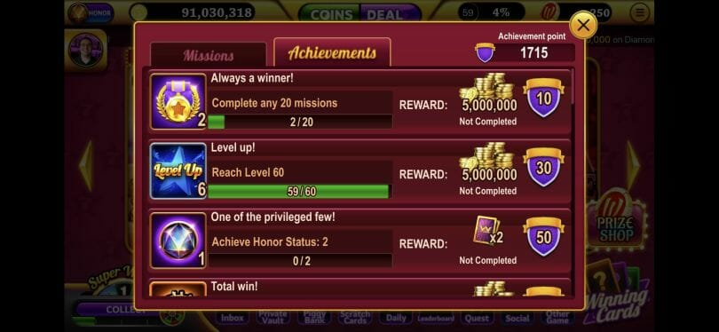 Winning Slots achievements