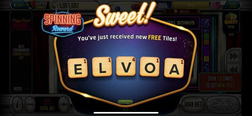 Vegas Words earn tiles
