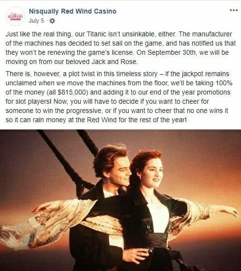 Nisqually Red Wind Casino Titanic jackpot slot decommissioned