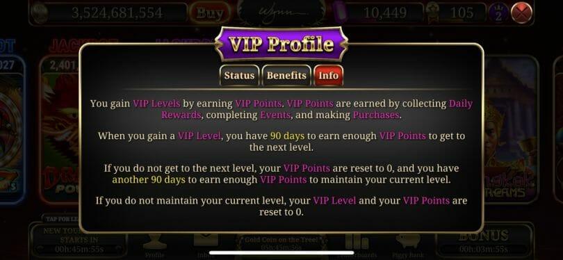 Wynn Slots VIP info