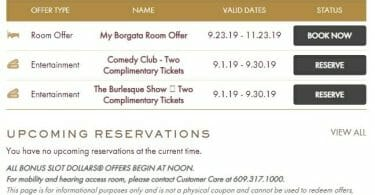 Borgata Atlantic City website offers