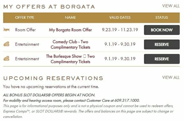 Borgata Atlantic City website offers