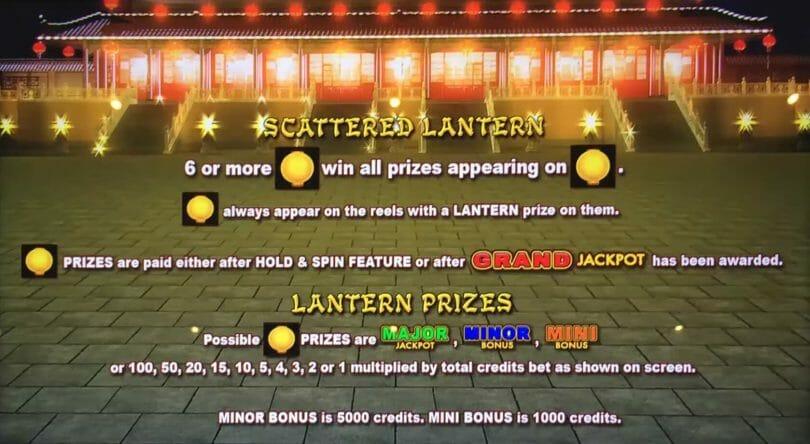 Lightning Link by Aristocrat lantern prizes