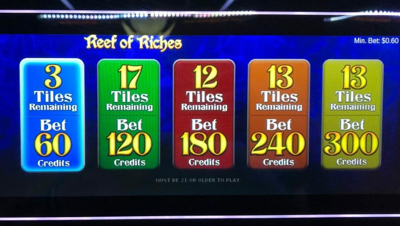 Reef of Riches by IGT bet panel