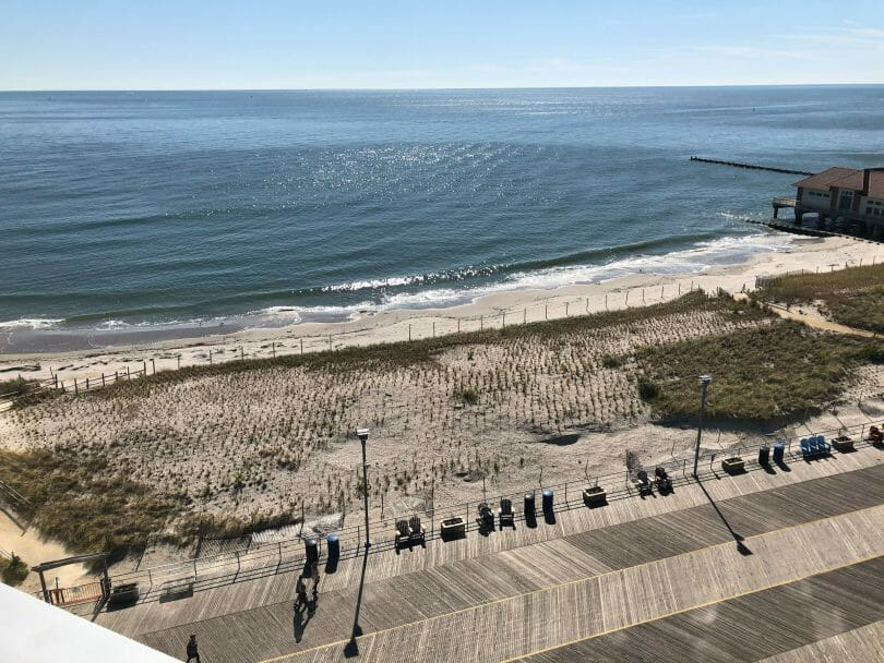 The boardwalk and shoreline in Atlantic City from Ocean Casino Resort