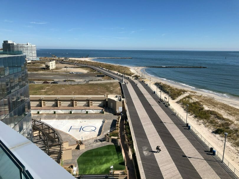Boardwalk and shoreline from Ocean Casino Resort in Atlantic City