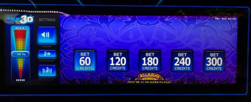 Aladdin's Fortune 3D by IGT bet panel