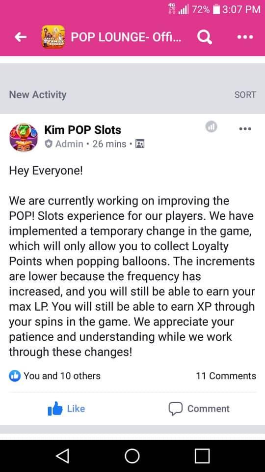 Pop Slots update