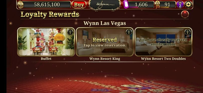 Wynn Slots buffet available screen