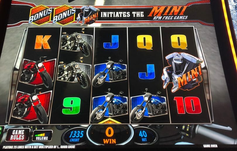 Harley Davidson by IGT mini spins incremented