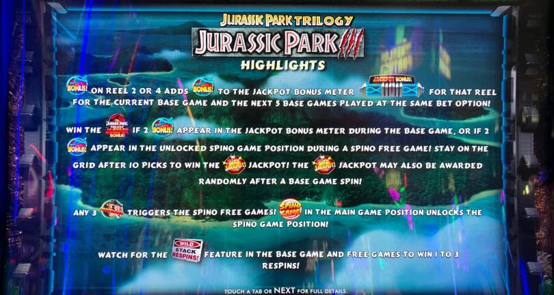 Jurassic Park by IGT game highlights