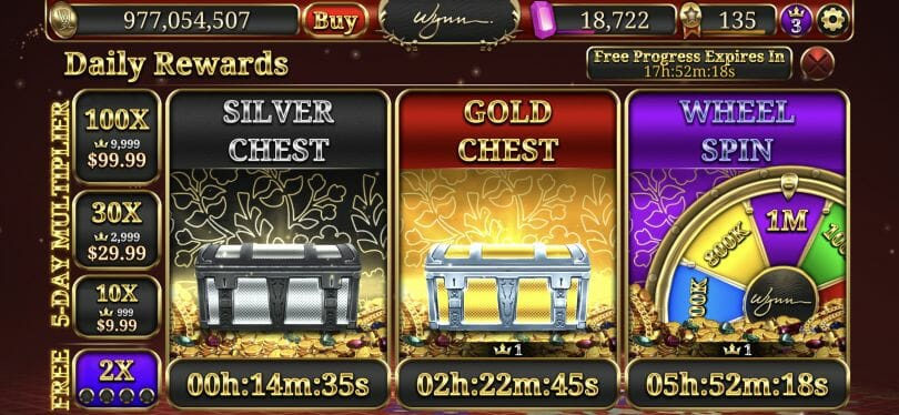 Wynn Slots chest wheel VIP points