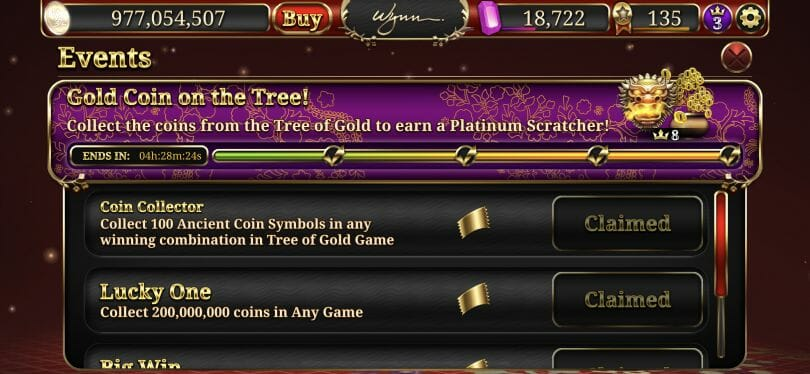 Wynn Slots new VIP earnings mission