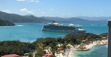 Oasis of the Seas in Labadee, Haiti from the top of the zip line