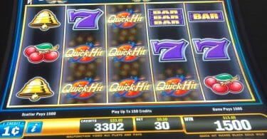 Quick Hit by Bally 50x not max bet with six Quick Hit symbols