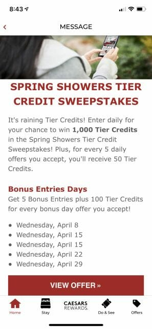 Caesars Rewards app April 2020 tier credit promotion