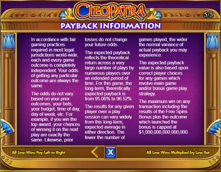 Double Down Casino Cleopatra payback information