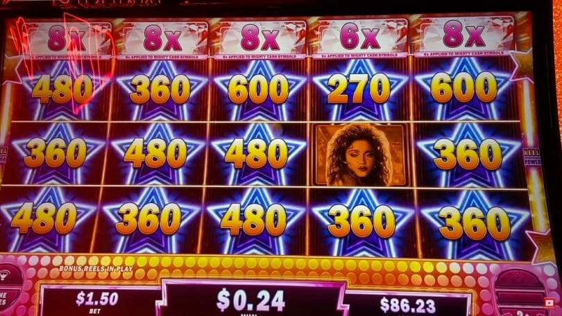 Madonna by Gimmie Games Mighty Cash maxed out multipliers