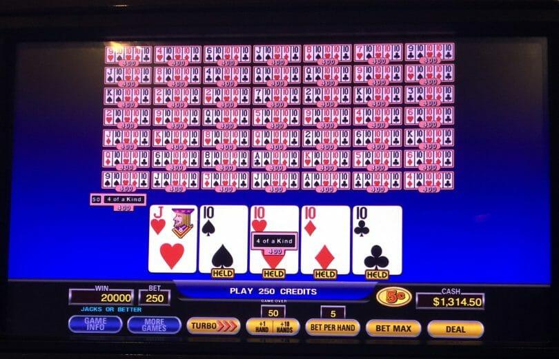 50 hand video poker bonus poker deluxe four of a kind