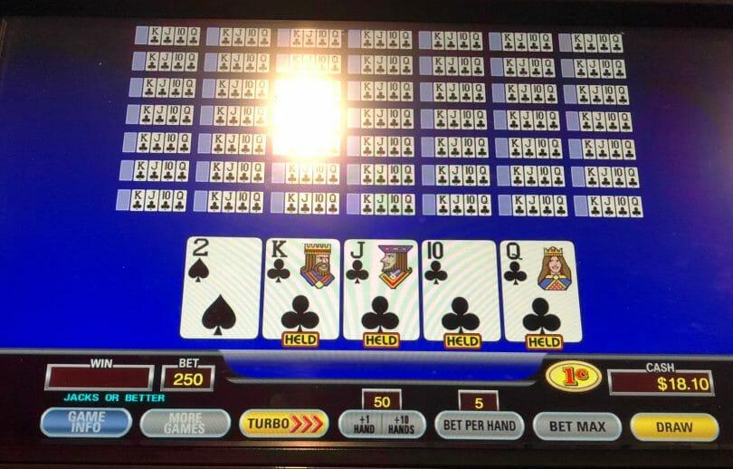 50 hand video poker four to a royal dealt