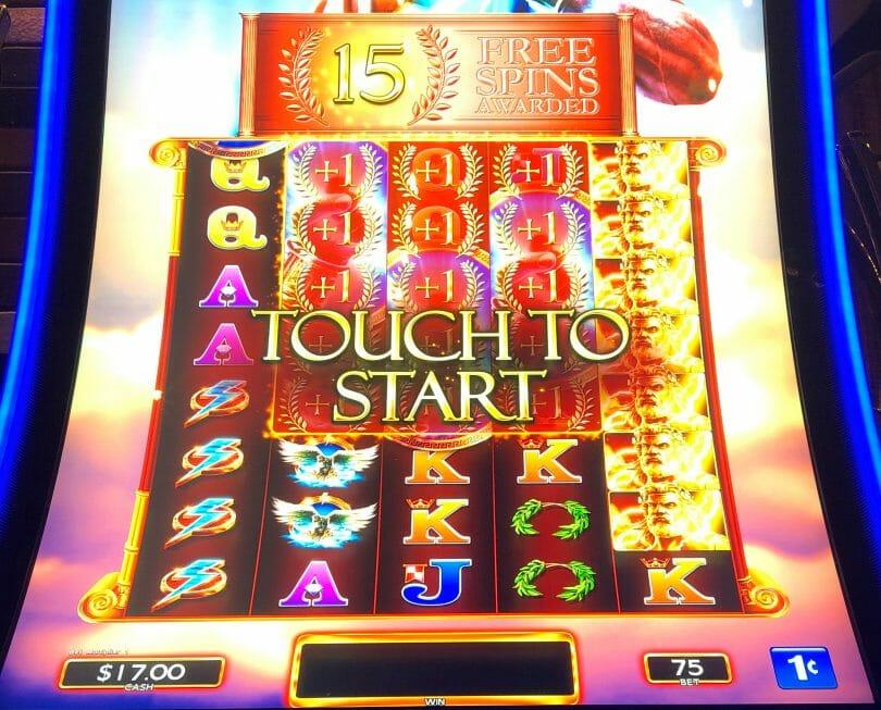 Zeus Unleashed by WMS 15 free spins bonus