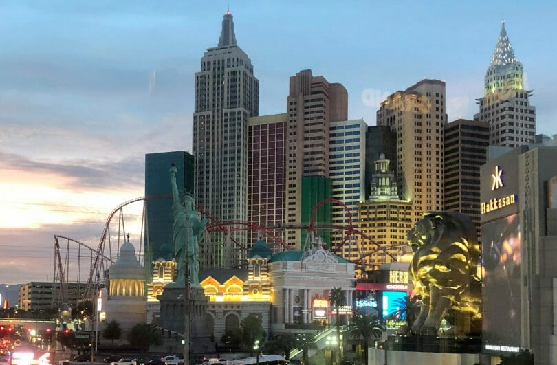 New York-New York Las Vegas outside in the evening