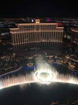 Bellagio fountains from the Eiffel Tower viewing deck