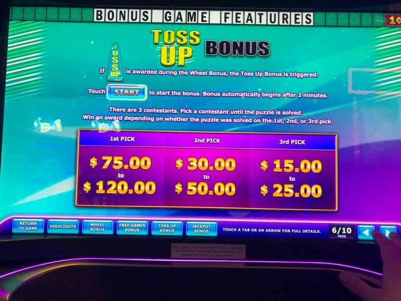 Wheel of Fortune 4D More Money by IGT Toss up Bonus info