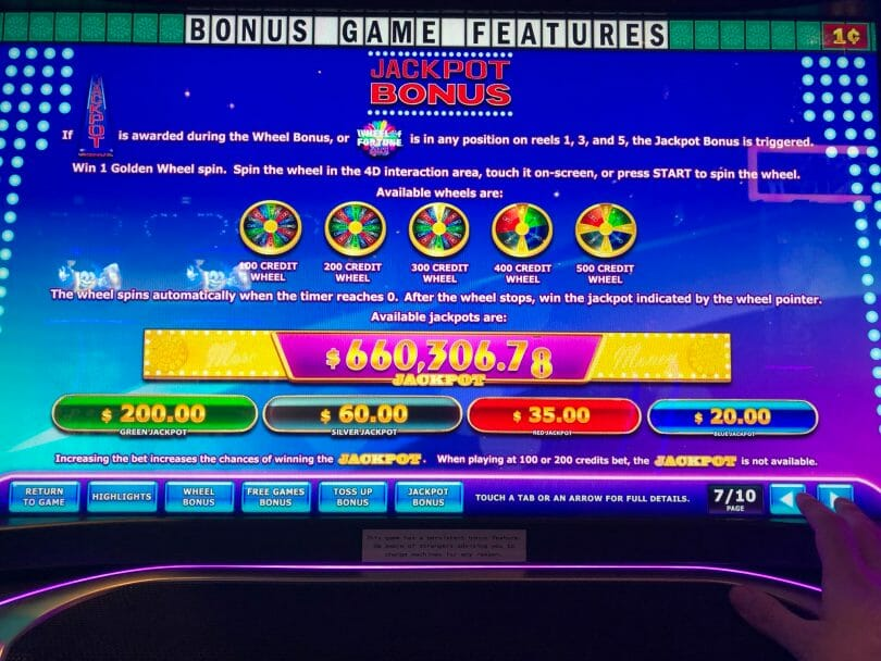 Wheel of Fortune 4D More Money by IGT Jackpot Bonus info