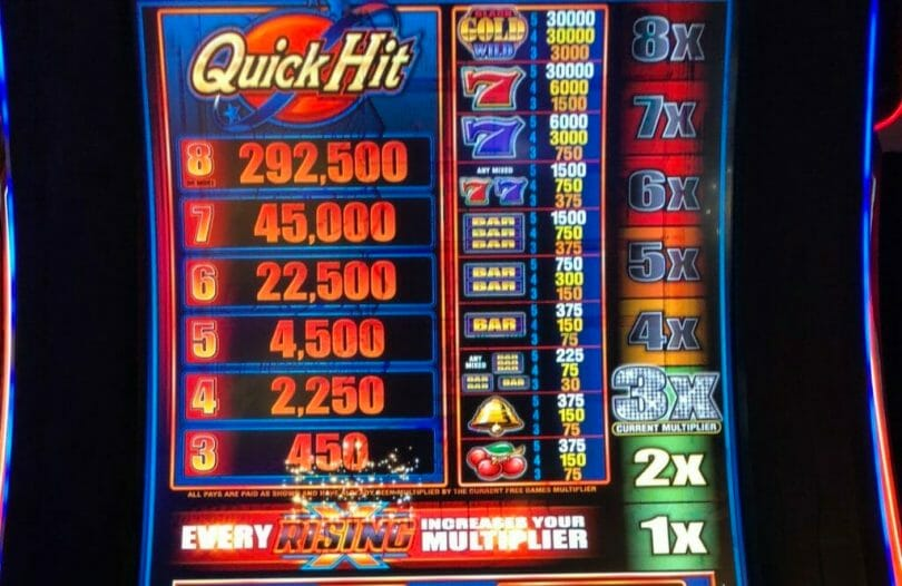 Quick Hit Rising Free Games Bonus pay table