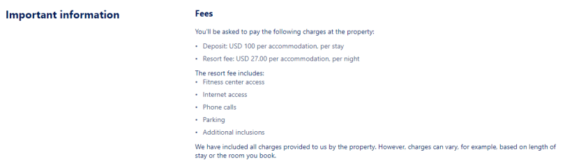 Expedia important information section